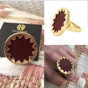 Nwt House of Harlow cranberry sunburst ring size 8